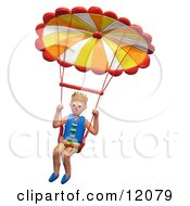 3d Hang Glider Descending In His Parachute