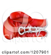 Cartoon Of A Red Boxing Glove With Laces Royalty Free Vector Clipart