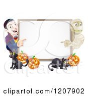 Cartoon Of A Happy Vampire Mummy Pumpkins And Black Cat Around A Blank Sign Royalty Free Vector Clipart by AtStockIllustration