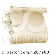 Happy Human Skeleton Pointing To A Blank Scroll Sign