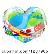 Cartoon Of A Reflective Heart Earth Globe With National Flag Sashes Royalty Free Vector Clipart by AtStockIllustration