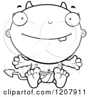 Cartoon Of A Black And White Happy Devil Infant Baby Royalty Free Vector Clipart by Cory Thoman