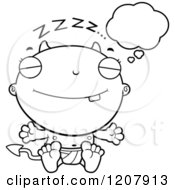 Cartoon Of A Black And White Dreaming Devil Infant Baby Royalty Free Vector Clipart