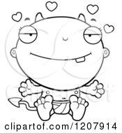 Cartoon Of A Black And White Loving Devil Infant Baby Royalty Free Vector Clipart by Cory Thoman
