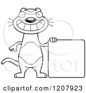 Black And White Grinning Skinny Ferret With A Sign