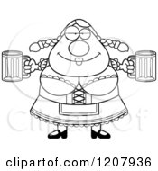 Cartoon Of A Black And White Chubby Oktoberfest German Woman Holding Two Beers Royalty Free Vector Clipart