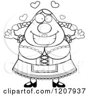 Cartoon Of A Black And White Loving Chubby Oktoberfest German Woman Royalty Free Vector Clipart