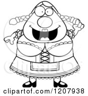 Cartoon Of A Black And White Smart Chubby Oktoberfest German Woman Royalty Free Vector Clipart