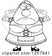 Cartoon Of A Black And White Mad Chubby Oktoberfest German Woman Royalty Free Vector Clipart by Cory Thoman