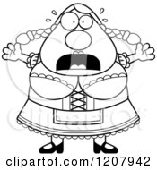 Cartoon Of A Black And White Scared Chubby Oktoberfest German Woman Royalty Free Vector Clipart