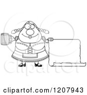 Cartoon Of A Black And White Chubby Oktoberfest German Woman With A Beer And Sign Royalty Free Vector Clipart