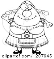 Cartoon Of A Black And White Waving Chubby Oktoberfest German Woman Royalty Free Vector Clipart by Cory Thoman