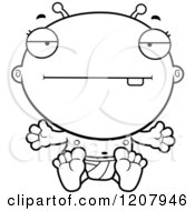 Cartoon Of A Black And White Bored Alien Infant Baby Royalty Free Vector Clipart