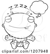 Cartoon Of A Black And White Dreaming Alien Infant Baby Royalty Free Vector Clipart