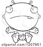 Cartoon Of A Black And White Mad Alien Infant Baby Royalty Free Vector Clipart