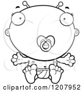 Cartoon Of A Black And White Sitting Alien Infant Baby With A Pacifier Royalty Free Vector Clipart