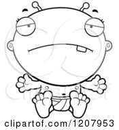 Cartoon Of A Black And White Depressed Alien Infant Baby Royalty Free Vector Clipart