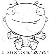 Cartoon Of A Black And White Happy Sitting Alien Infant Baby Royalty Free Vector Clipart