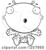 Cartoon Of A Black And White Surprised Alien Infant Baby Royalty Free Vector Clipart