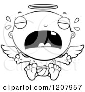 Cartoon Of A Black And White Crying Baby Infant Angel Royalty Free Vector Clipart by Cory Thoman