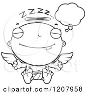 Cartoon Of A Black And White Dreaming Baby Infant Angel Royalty Free Vector Clipart by Cory Thoman