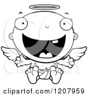Cartoon Of A Black And White Happy Baby Infant Angel Royalty Free Vector Clipart by Cory Thoman