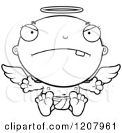 Cartoon Of A Black And White Mad Baby Infant Angel Royalty Free Vector Clipart by Cory Thoman