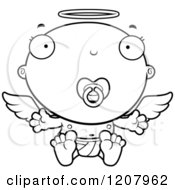 Cartoon Of A Black And White Baby Infant Angel With A Pacifier Royalty Free Vector Clipart by Cory Thoman