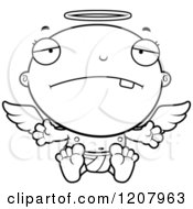 Cartoon Of A Black And White Depressed Baby Infant Angel Royalty Free Vector Clipart by Cory Thoman