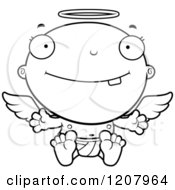 Cartoon Of A Black And White Baby Infant Angel Royalty Free Vector Clipart by Cory Thoman