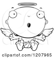 Cartoon Of A Black And White Surprised Baby Infant Angel Royalty Free Vector Clipart by Cory Thoman