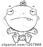 Cartoon Of A Black And White Depressed Baby Infant Girl Royalty Free Vector Clipart