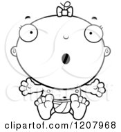 Cartoon Of A Black And White Surprised Baby Infant Girl Royalty Free Vector Clipart