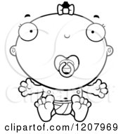 Cartoon Of A Black And White Baby Infant Black Girl With A Pacifier Royalty Free Vector Clipart