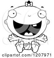 Cartoon Of A Black And White Happy Excited Baby Infant Black Girl Royalty Free Vector Clipart