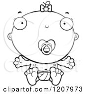 Cartoon Of A Black And White Baby Infant Girl With A Pacifier Royalty Free Vector Clipart
