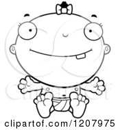 Cartoon Of A Black And White Happy Baby Infant Black Girl Royalty Free Vector Clipart
