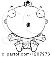 Cartoon Of A Black And White Surprised Baby Infant Black Girl Royalty Free Vector Clipart