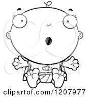 Cartoon Of A Black And White Surprised Super Infant Baby Boy Royalty Free Vector Clipart
