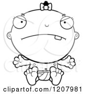 Cartoon Of A Black And White Depressed Baby Infant Black Girl Royalty Free Vector Clipart