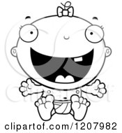 Cartoon Of A Black And White Happy Excited Baby Infant Girl Royalty Free Vector Clipart