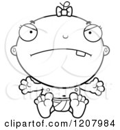 Cartoon Of A Black And White Mad Baby Infant Girl Royalty Free Vector Clipart