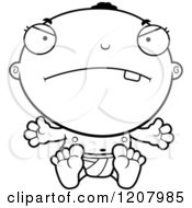 Cartoon Of A Black And White Mad Black Baby Boy Royalty Free Vector Clipart
