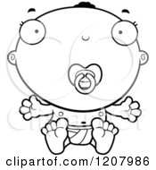 Cartoon Of A Black And White Sitting Black Baby Boy With A Pacifier Royalty Free Vector Clipart