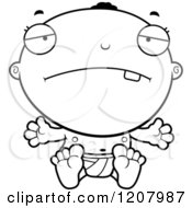 Cartoon Of A Black And White Depressed Black Baby Boy Royalty Free Vector Clipart