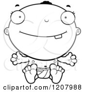 Cartoon Of A Black And White Smiling Happy Black Baby Boy Royalty Free Vector Clipart