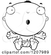 Cartoon Of A Black And White Surprised Black Baby Boy Royalty Free Vector Clipart