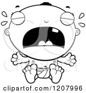Cartoon Of A Black And White Crying Black Baby Boy Royalty Free Vector Clipart by Cory Thoman