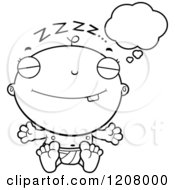 Cartoon Of A Black And White Dreaming Baby Boy Infant Royalty Free Vector Clipart