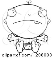 Cartoon Of A Black And White Mad Baby Boy Infant Royalty Free Vector Clipart